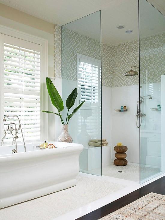 półotwarta kabina prysznicowa w łazience w stylu retro