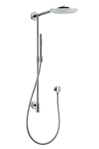 zewnętrzny element prysznicowy, naścienny drążek z dyszą (dysk raindance) i słuchawka na miękkim wężu
