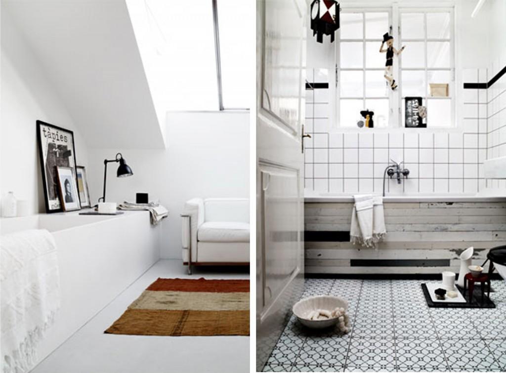 łazienka w stylu skandynawskim, biały, szary i czarne dodatki