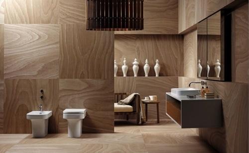 drewno w łazience w postaci paneli zapewni niepowtarzalny wygląd powiedzchni