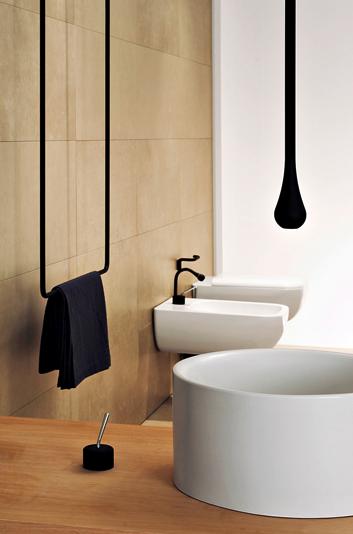 czarne baterie umywalkowe Gessi w kształcie kropli montowane na suficie