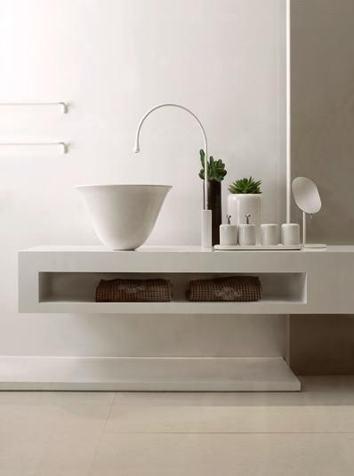 baterie umywalkowe Gessi, sztorcowa biała, wysoka, w kształcie kropli wody