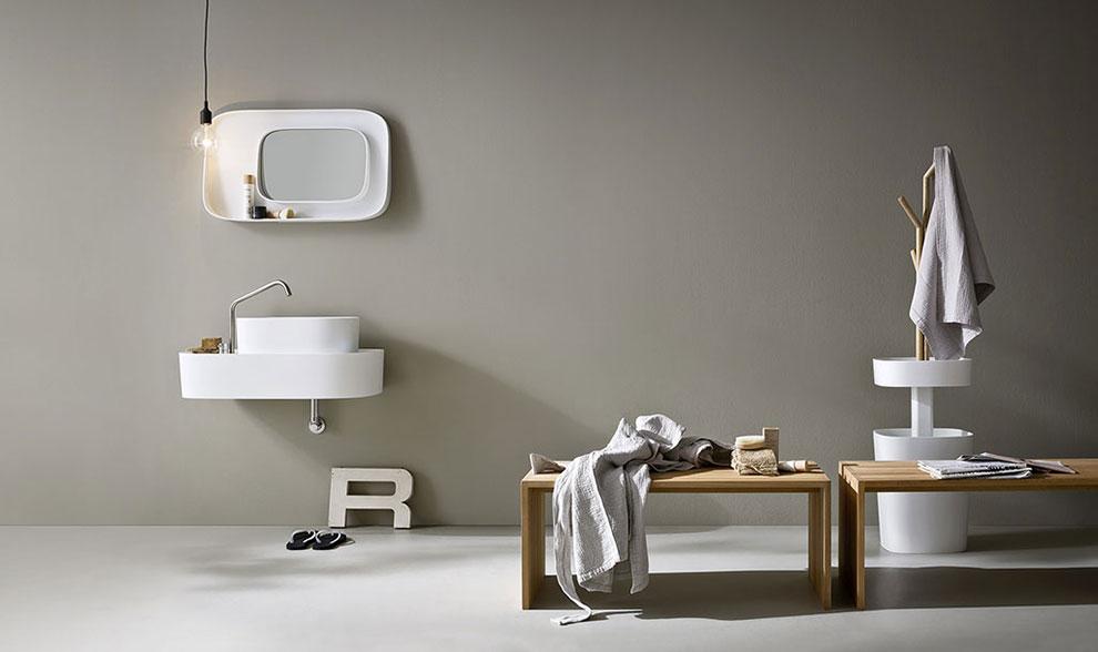 łazienka w stylu japońskim, minimalizm i bieli i beż w tle
