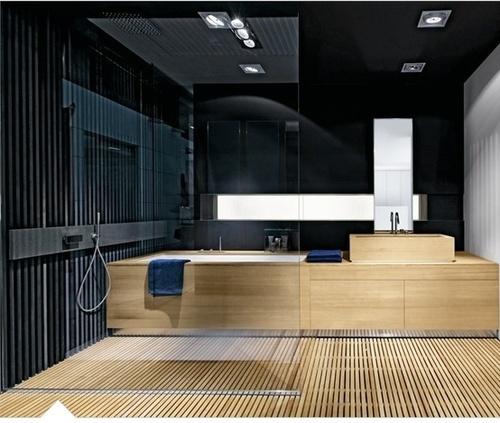 czarna łazienka - czarne i surowe deski w połączeniu dają niesamowity wygląd
