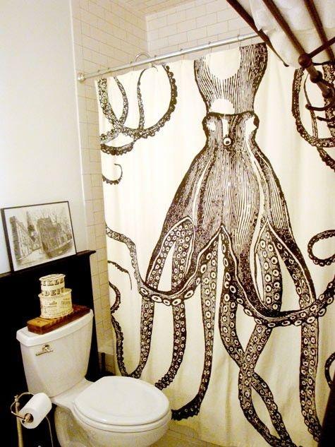 zasłona prysznicowa z wzorem ośmiornicy
