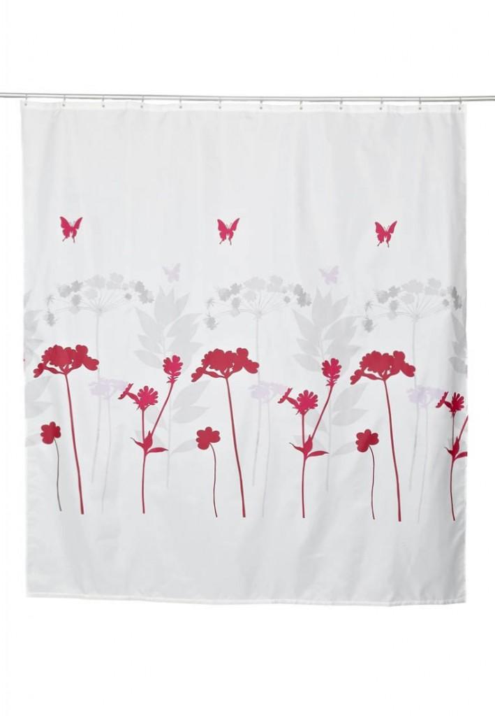 biała zasłona prysznicowa z czewono-szarym florystycznym akcentem