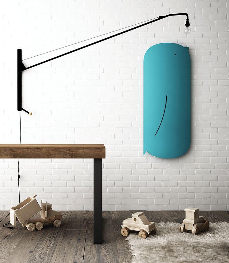 grzejniki łazienkowe w kształcie zwierząt - tu w kształcie niebieskiego ptaszka w łazience dla dzieci, Schema Bird dla firmy Ridea