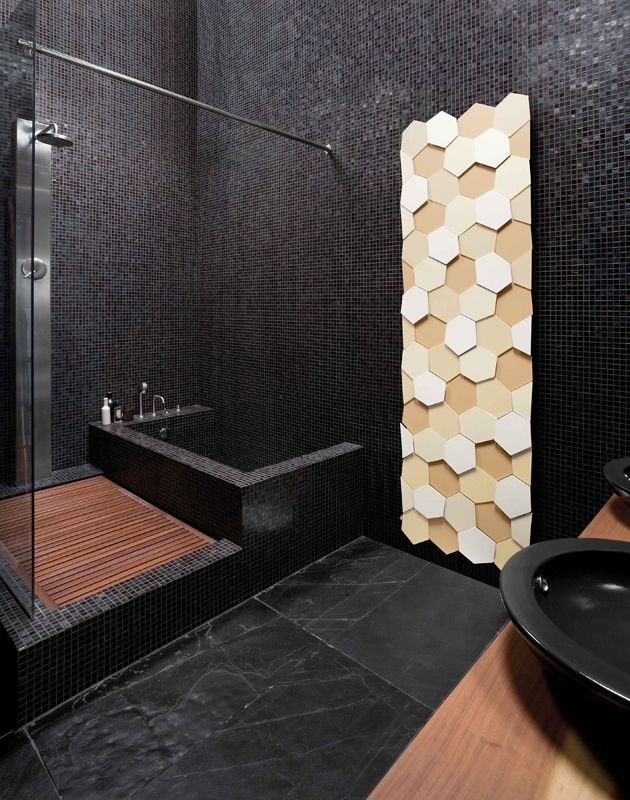 grzejniki łazienkowe w oryginalnych kształtach, tu jak plaster miodu