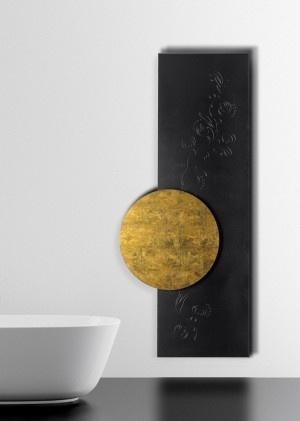 nowoczesne grzejniki łazienkowe np. w formie dwóch kształtów i kolorów: złota i czerni