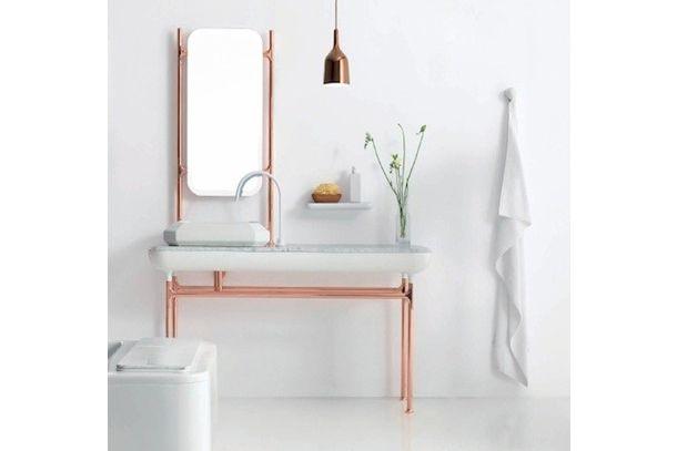 nowoczesne meble łazienkowe inspirowane miedzianymi industrialnymi rurkami, Bisazza Bagno Collection