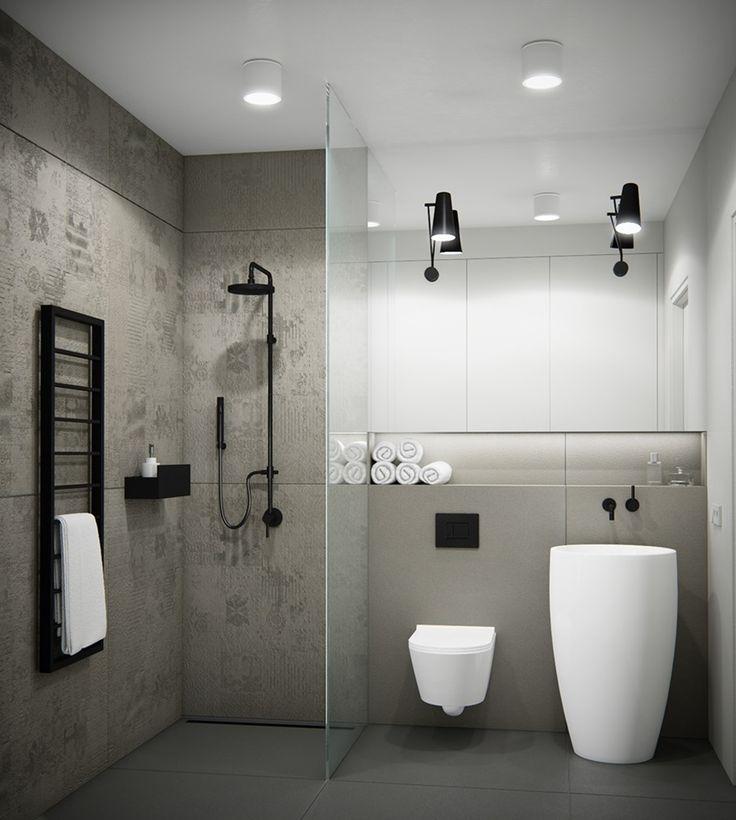 fakturowe płytki na ścianie nadają głębi minimalistycznej łazience