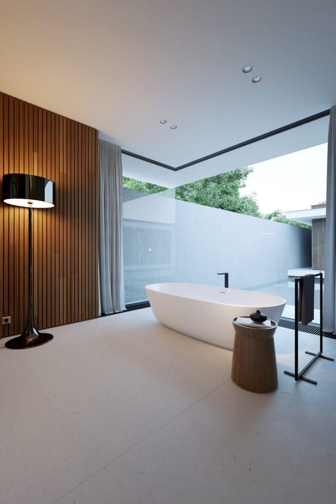 minimalistyczna łazienka ze ścian z paneli drewnianych i szkła oświetlona dzięki czarnej lakierowanej lampie podłogowej