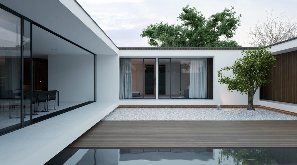minimalistyczna łazienka atrialnego piano house