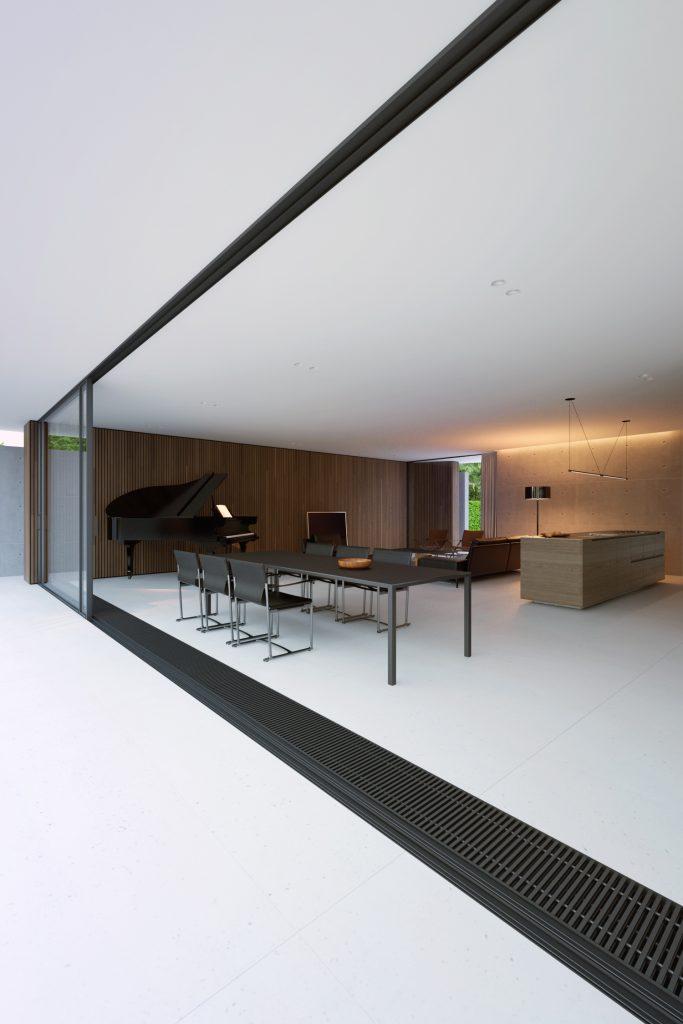 widok na salon piano house z fortepianem od którego powstała nazwa