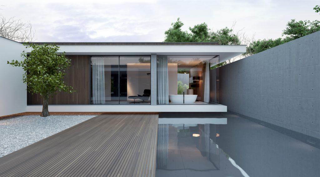 minimalistyczna łazienka widoczna z atrium domu piano house z basenem