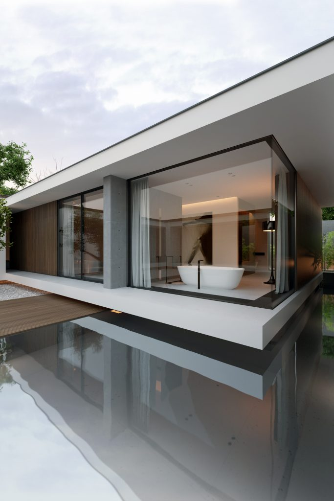 minimalistyczna łazienka widoczna od strony atrium piano house