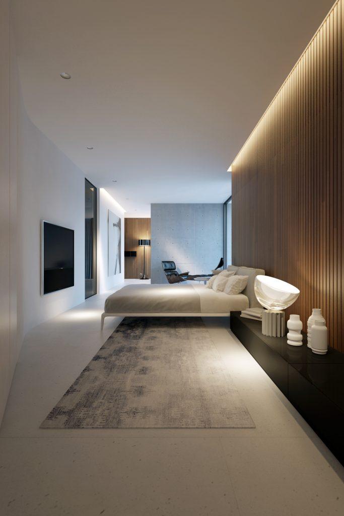 minimalistyczna sypialnia w naturalnych ciepłych kolorach wykończona drewnem otwarta na minimalistyczną łazienkę