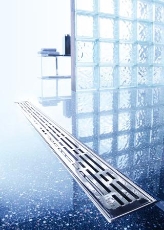 odpływ liniowy Tece Drainline proponuje również wypełnienia stalą nierdzewną w różnych wzorach