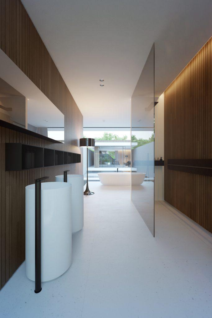 minimalistyczna łazienka z minimalistycznym wykończoną w drewnie kabiną prysznicową walk-in