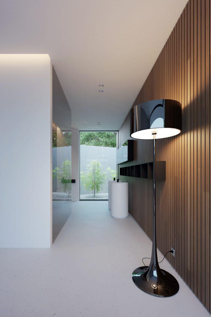 ciąg minimalistycznej łazienki z wolnostojącą czarną lampą na tle minimalistycznych wolno stojących umywalek wykończonych czarnymi bateriami