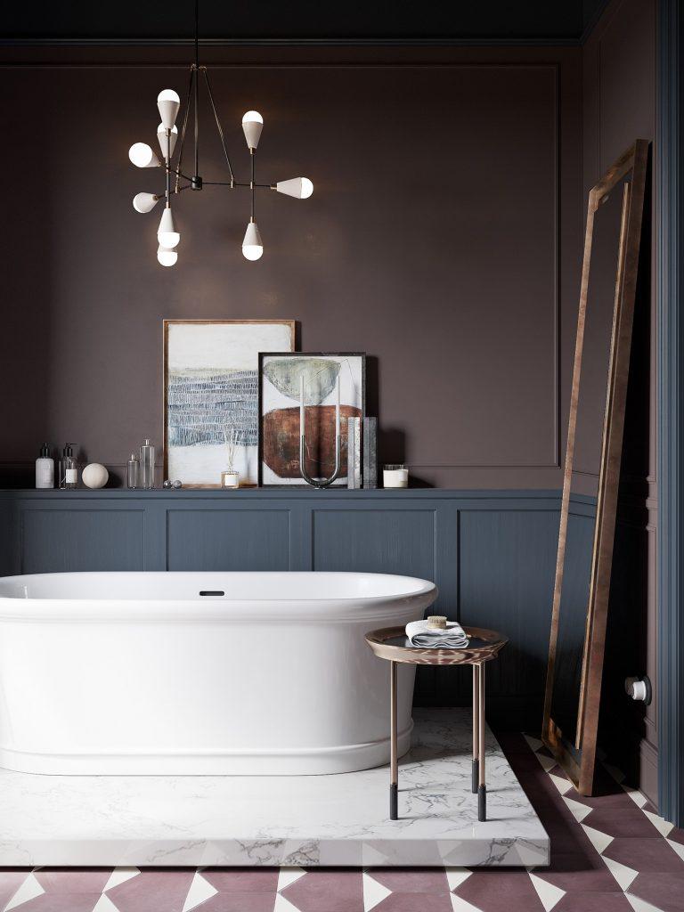 piękna wanna wolnostojąca na marmurowej podstawie w łazienko w kolorystyce mushroom ze nowoczesnym żerandolem