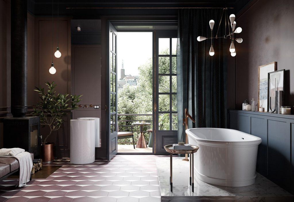 piękna białawanna wolnostojąca na marmurowej podstawie w łazienko w kolorystyce mushroom ze nowoczesnym żerandolem