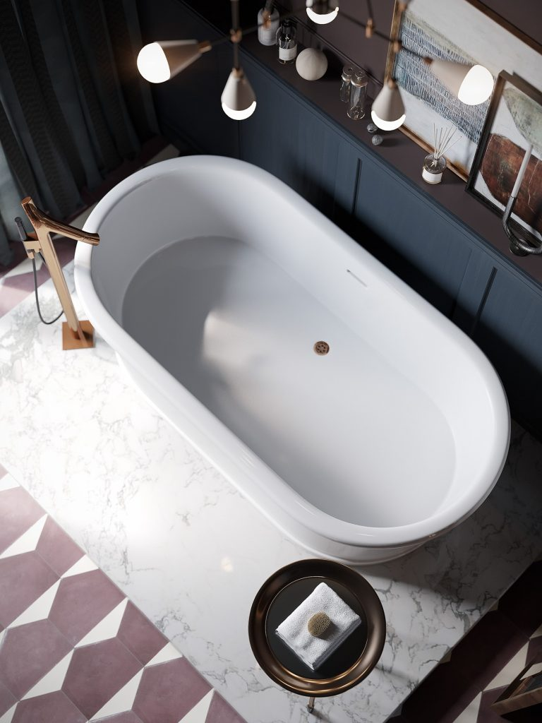 piękna wanna wolnostojąca na marmurowej podstawie w łazienko w kolorystyce mushroom widziana z góry