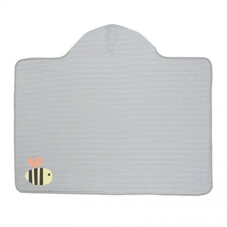akcesoria łazienkowe szary ręcznik kąpielowy z aplikacją pszczółką