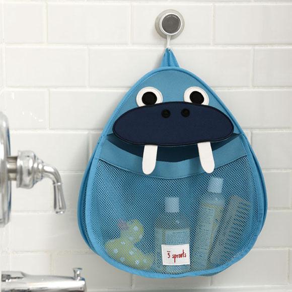 akcesoria łazienkowe kosz na kosmetyki i zabawki do łazienki na przyssawkę w kształcie morsa