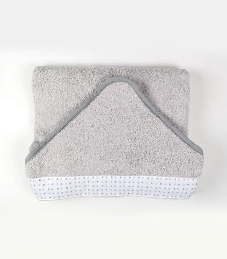 akcesoria łazienkowe szary mięciutki ręcznik kąpielowy z kapturkiema