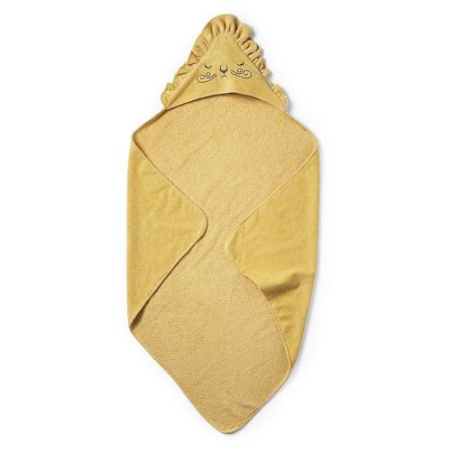 akcesoria łazienkowe żółty ręcznik kąpielowy z kapturkiem przypominający lwa