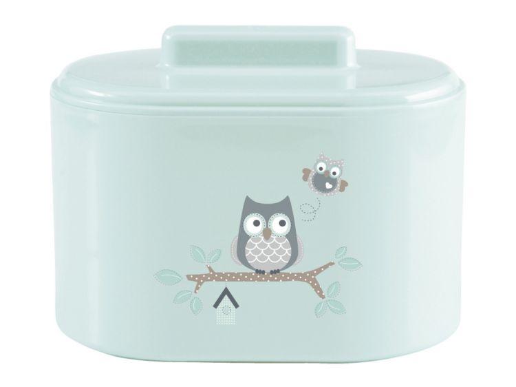 akcesoria łazienkowe miętowe pudełko z sówką