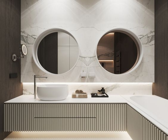 mimo, że umywalka jest jedna to lustra są dwa, gdyż świetnie zdobią ścianę łazienki